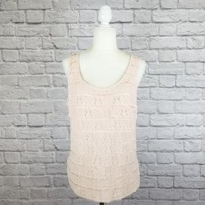J. Crew blush pink lace tiered sleeveless top NWT